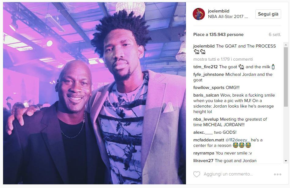 Instagram Joel Embiid con Michael Jordan